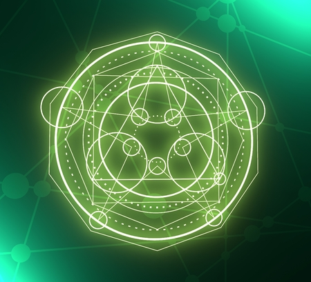 Mystical geometry symbol. Linear alchemy, occult, philosophical sign. For music album cover, poster, sacramental design. Astrology and religion concept. 3D rendering