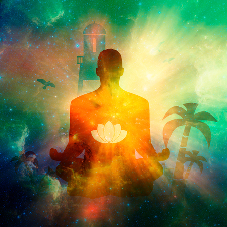 Businessman sit in meditation pose. Palm and safeguard tower on the beach. Relaxation after work concept. Lotus flower symbol. Elements of this image furnished by NASA. Deep space filled with stars