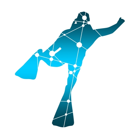 Silhouette of diver. Icon diver. The concept of sport diving. Textured by connected lines with dots. Illustration