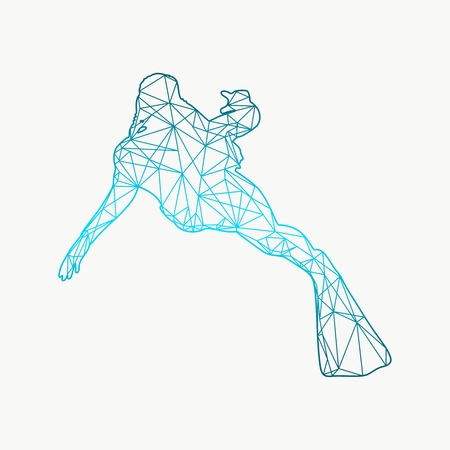 Cutout silhouette of diver textured by lines and dots pattern. The concept of sport diving. Illustration