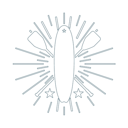 Surfboard and paddles. Surfing outline emblem. Stand up paddle boarding