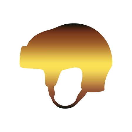 Classic ice hockey red helmet icon in flat style. Side view
