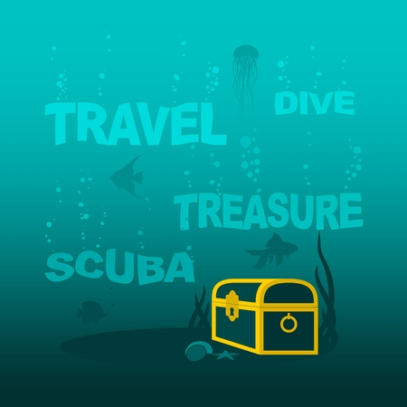 Underwater world background. Underwater landscape with sunken ship and treasure chest. Marine life and fauna. . Sinking words with bubbles Vettoriali