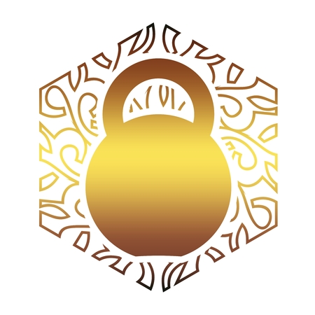 Kettlebell icon in the ornamental frame. Flat style simple symbol. Element for sporty club emblem Illustration