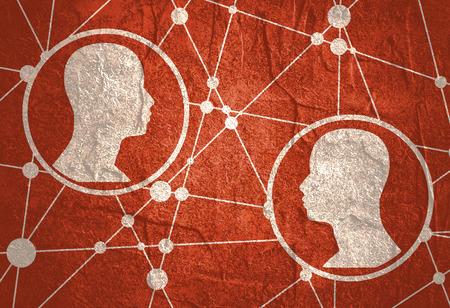 Siluetas de una cabeza humana. Diseños médicos científicos. Comunicación humana. Siluetas texturizadas por líneas y patrón de puntos