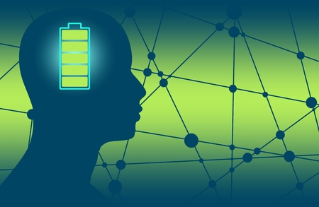 Silhouette of a mans head with high full level energy battery icon. Mental health relative brochure, report or flyer design template. Scientific medical designs. Connected lines with dots.