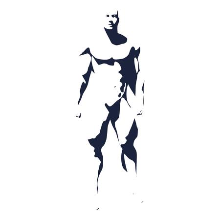 Bodybuilder silhouette. Muscular man posing. Simple style illustration. Sport concept