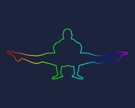 Bodybuilder outline silhouette. Muscular man posing. Simple style illustration. Sport concept.