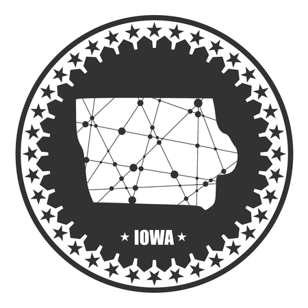 Image relative to USA travel. Iowa state map textured by lines and dots pattern. Stamp in the shape of a circle Vektorové ilustrace