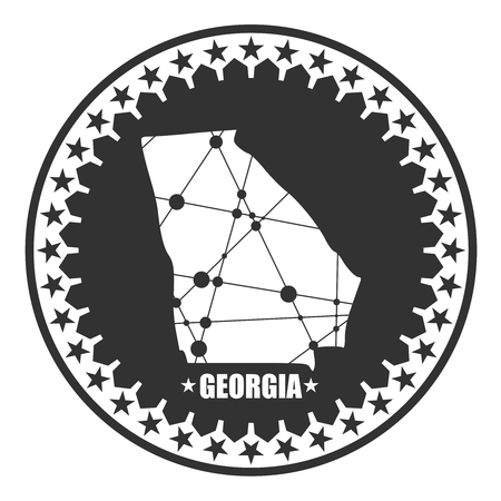 Image relative to USA travel. Georgia state map textured by lines and dots pattern. Stamp in the shape of a circle