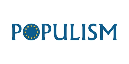 Populism word with European Union round shape flag