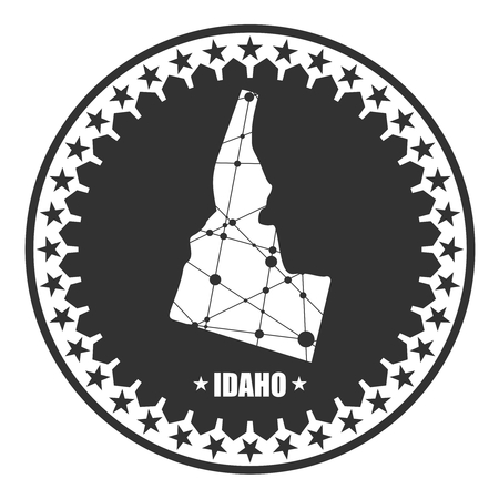 Image relative to USA travel. Idaho state map textured by lines and dots pattern. Stamp in the shape of a circle