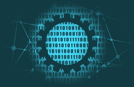 Binary code background with digits on screen. Algorithm binary, data code, decryption and encoding, row matrix