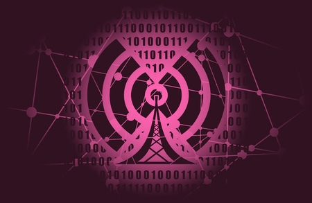 Wi Fi Symbol icon. Mobile gadgets technology relative image. Silhouette textured by lines and dots pattern. Binary code on backdrop