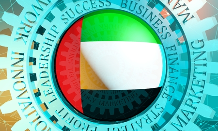 Business relative words on the mechanism of gears. Communication concept in industrial design. Connected lines with dots background. Flag of the United Arab Emirates. 3D rendering Stock Photo