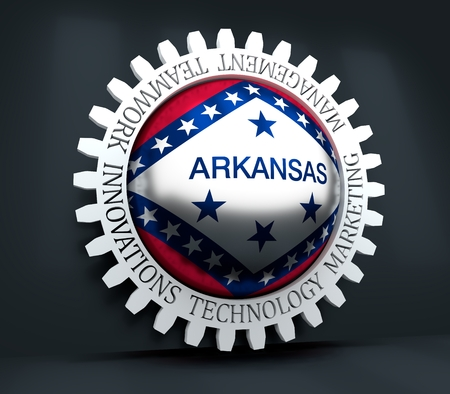 Cog wheel with Arkansas flag. Precision machinery relative backdrop. 3D rendering
