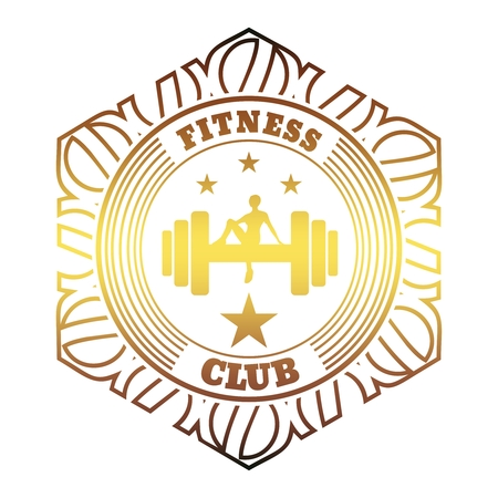 Sporty woman sits on a dumbbell. Short hair girl silhouette. Fitness club text. Emblem for sport club. Stamp in the ornamental frame