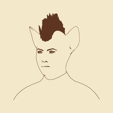 The silhouette of a woman head with cat ears. Mohawk hairstyle Illustration
