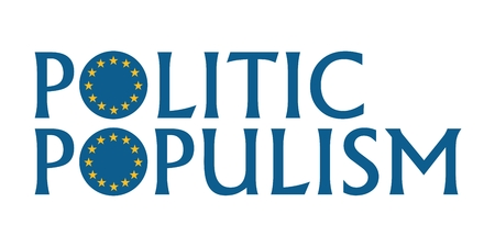 Politic populism word with European Union round shape flag
