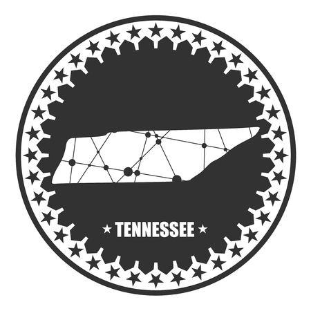 Image relative to USA travel. Tennessee state map textured by lines and dots pattern. Stamp in the shape of a circle