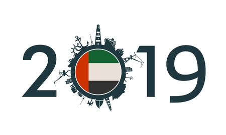Circle with sea shipping and travel relative silhouettes. Objects located around the circle. Industrial design background. 2019 year number. Flag of the United Arab Emirates