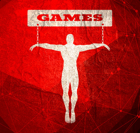 Man chained to games word. Unhealthy addiction metaphor. Molecule And Communication Background. Connected lines with dots. Фото со стока - 120246737