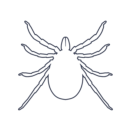 Insect silhouette. Tick parasite. Sketch of Tick. Mite outline icon. Tick isolated on white background. Tick Design for coloring book