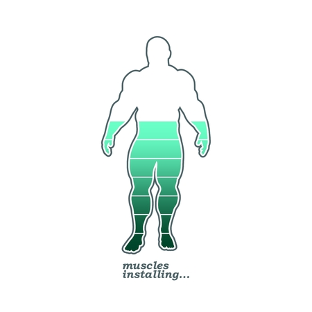 Installing muscles please wait. Humorous hand written quote. Bodybuilder outline silhouette. Muscular man posing. Simple style illustration. Sport concept.