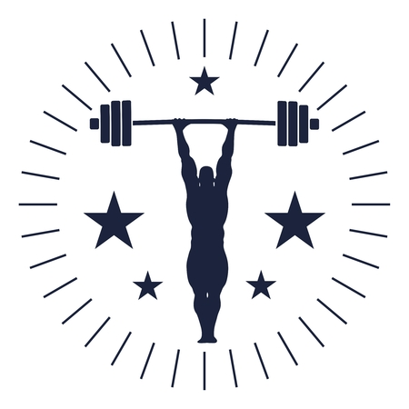 bodybuilder and barbell silhouettes. Icon of the posing athlete. Sporty style stamp