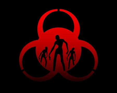 Biohazard sign and zombie silhouettes on them. Halloween theme background