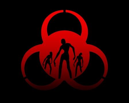Signe Biohazard et silhouettes de zombies sur eux. Fond de thème Halloween Vecteurs