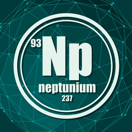 Neptunium chemical element. Sign with atomic number and atomic weight. Chemical element of periodic table. Molecule And Communication Background. Connected lines with dots. Illustration