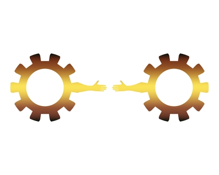 Web Banner, Header Layout Template. Politic and economic relationship metaphor. Cog wheels with human arms.