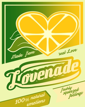 Colorful vintage Lemonade label poster vector illustration. New brand name Lovenade. Unusual love drink. Squeezed from feelings and 100 percent natural emotions text. Made from real love tag line