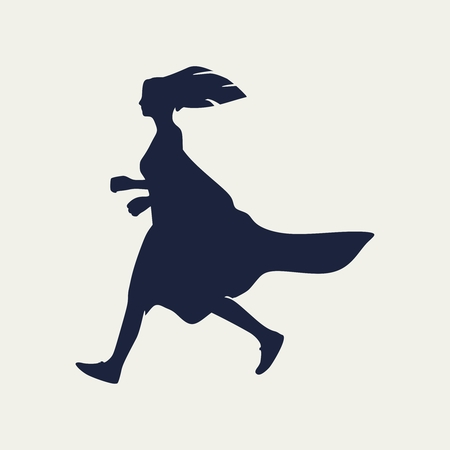 Running woman. Side view silhouette. Sport and recreation Vecteurs