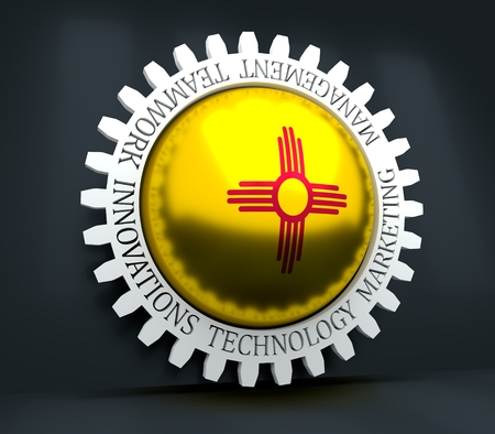 Cog wheel with New Mexico flag. Precision machinery relative backdrop. 3D rendering Imagens