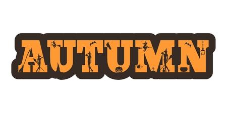 Autumn word and silhouettes on them. Halloween theme sticker