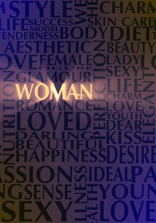 Donna e amore parole relative. Parole chiave nuvola. Sfondo senza soluzione di continuità Archivio Fotografico