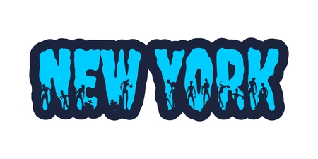 New York city name and zombie silhouettes on them. Halloween theme sticker