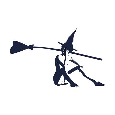 Illustrazione dell'icona di giovane strega in piedi. Sagoma di strega con un manico di scopa. Immagine relativa di Halloween