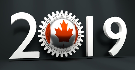 Cog wheel with Canada flag. Precision machinery relative backdrop. 2019 year number. 3D rendering