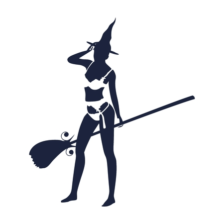 Illustration of standing young witch icon. Witch silhouette with a broomstick. Halloween relative image