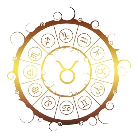 Astrological symbols in the circle. Golden metallic gradient