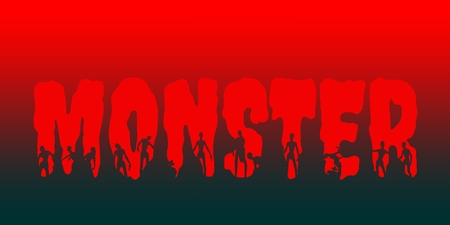 Monster word and silhouettes on them. Halloween theme background Ilustracje wektorowe