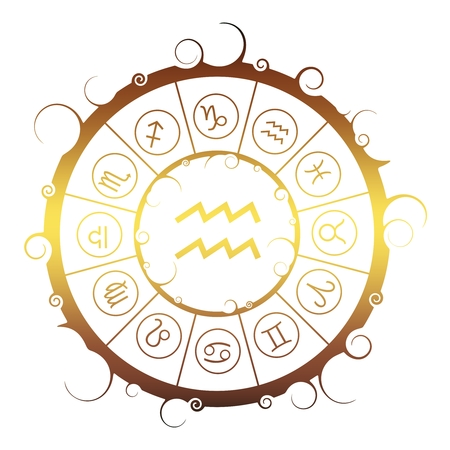 Astrological symbols in the circle. Golden metallic gradient. Water bearer sign