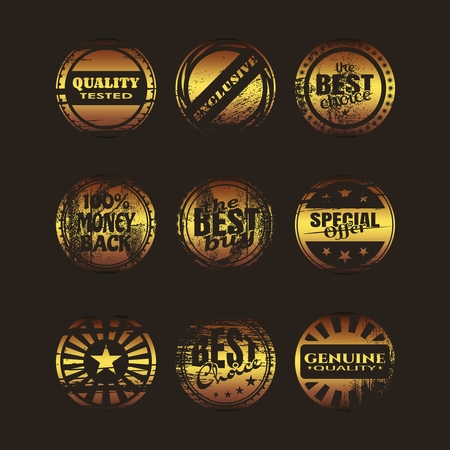 Stamps and stickers icons set. Kit collection of graphic design elements. Distressed grunge texture