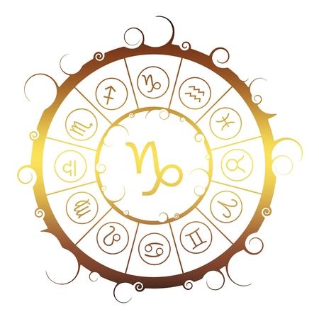 Astrological symbols in the circle. Golden metallic gradient. Capricorn sign