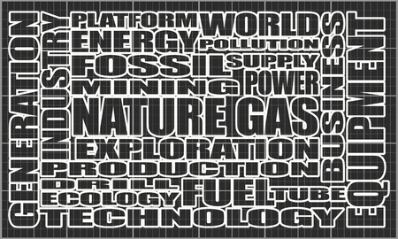 Nature gas relative tags cloud. Image relative to gas production and supply
