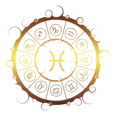 Astrological symbols in the circle. Golden metallic gradient. Fish sign Ilustração