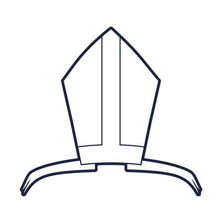 Bishop mitre with shamrok. Catholic hat outline icon Иллюстрация
